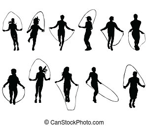 jumping rope - Black silhouettes of  jumping rope, vector