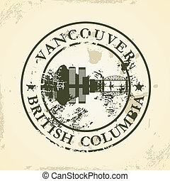 stamp with Vancouver, BC - Grunge rubber stamp with...