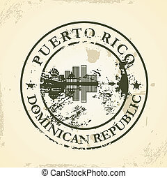 stamp with Puerto Rico, DR - Grunge rubber stamp with Puerto...