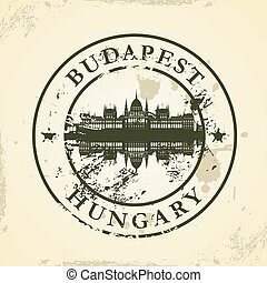 stamp with Budapest, Hungary - Grunge rubber stamp with...