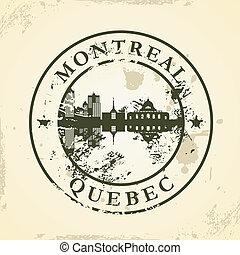 stamp with Montreal, Quebec - Grunge rubber stamp with...