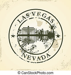 stamp with Las Vegas, Nevada - Grunge rubber stamp with Las...