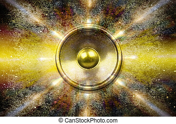 Music speaker on a grunge background - Audio speaker on a...
