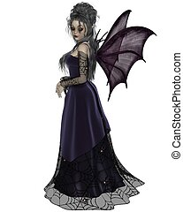 Gothic Fairy in Purple - Gothic style fairy with purple bat...