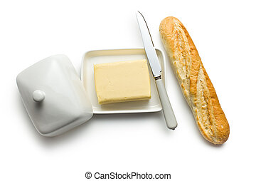 baguette with butter - top view of baguette with butter