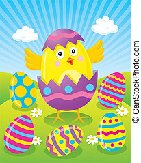 Easter Chick Hatching from Egg - Baby chick hatching from a...
