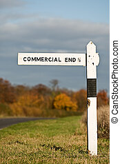 Sign Showing the Way to the Commercial End