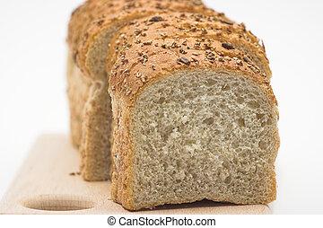 Coarse bread cut into slices