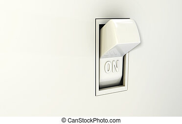 Isolated wall light switch in the On position