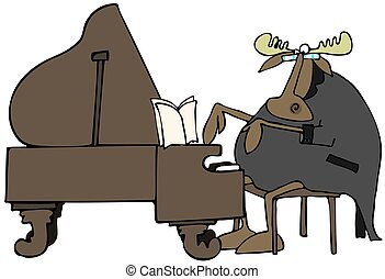 Moose pianist - This illustration depicts a moose in a...