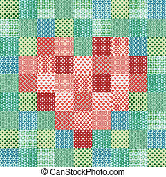 Patchwork mosaic with heart - Background with pixels figure....