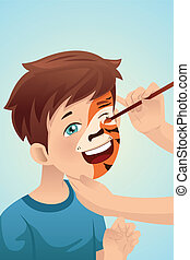 Boy having his face painted - A vector illustration of cute...