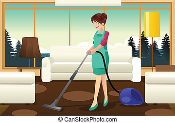 Professional maid vacuuming carpet - A vector illustration...