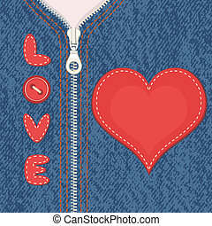 Jacket with zipper and heart - Valentine background....
