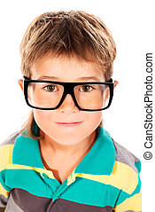 spectacles - Portrait of a cute boy in spectacles. Isolated...