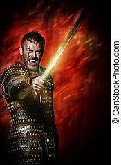 reenactment - Portrait of a courageous ancient warrior in...