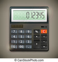 Calculator on dark - Calculator isolated on dark background,...