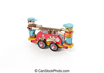 tin toy - Vintage old tin toy made of tin isolated on...