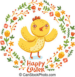 Happy Easter nestling floral wreath