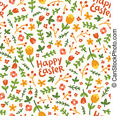 Happy Easter flower seamless pattern