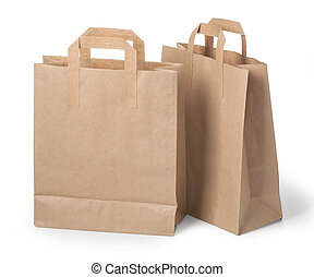 paper bags - disposable paper bags on white . with clipping...