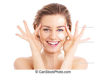 Make-up effects - A picture of a female face cut in half to...