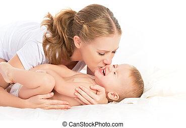 heureux, famille, mère, bébé, avoir,...