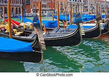 Gondolas in Venice - Beautiful view of Famous Venetian...