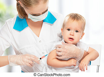 doctor does injection child vaccination baby - A doctor does...
