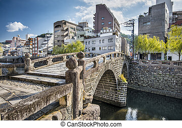 "Nagasaki, Japan at historic Megane ""Spectacles Bridge"" over..."