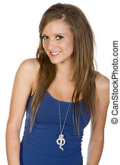 Beautiful Teen - Cute Teenage Girl in Blue Vest