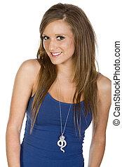 Beautiful Teen - Cute Teenage Girl in Blue Vest