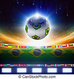 2014 Brazil soccer - Abstract sports background - soccer...