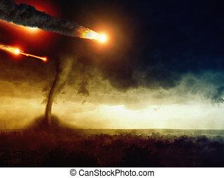 Asteroide, impacto, inmenso, tornado