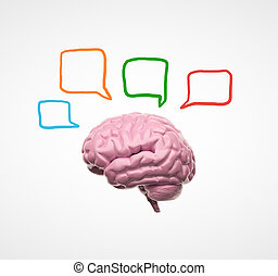 brain 3d with speech bubbles