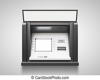ATM machine with blank display on a gray background