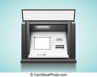 ATM machine with blank display on a blue background