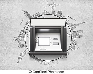 ATM machine with blank display, travel concept
