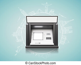 travel concept - ATM with blank display, travel concept