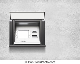 ATM machine with blank display in concrete wall