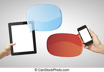 social network communication - digital touch pad and phone,...