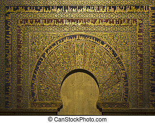 Golden decoration - The golden decoration arch of Cordoba's...