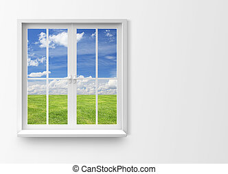 Modern residential window - residential window with lake...