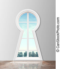 Modern   window  in form keyhole with city view
