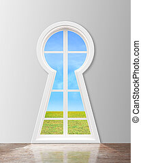 window in form keyhole with lake view