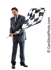Goal Reached - A Young Businessman isolated on a white...