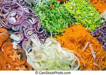 Different kinds of salad seen in a restaurant
