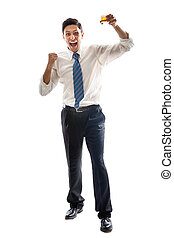 Yeah! - A young Businessman isolated on a white background...