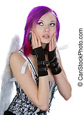Alternative Girl in Angel Wings - Attractive Emo Girl with...