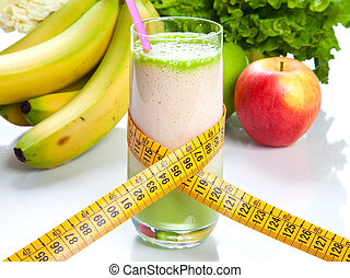 Fruit juice - diet and fitness - Diet juice in a glass with...